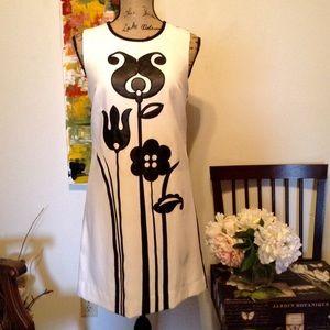 Victoria Beckham Faux Leather Black & White Dress
